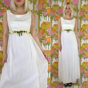 Vintage 1960s empire waist boho maxi wedding dress